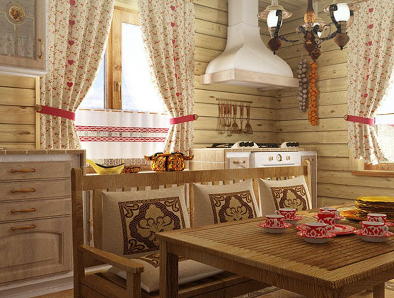 Занавески на кухню в деревенском стиле своими руками фото